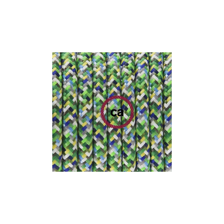 Pendel in porcellana, lampada sospensione cavo tessile Pixel Verde RX05