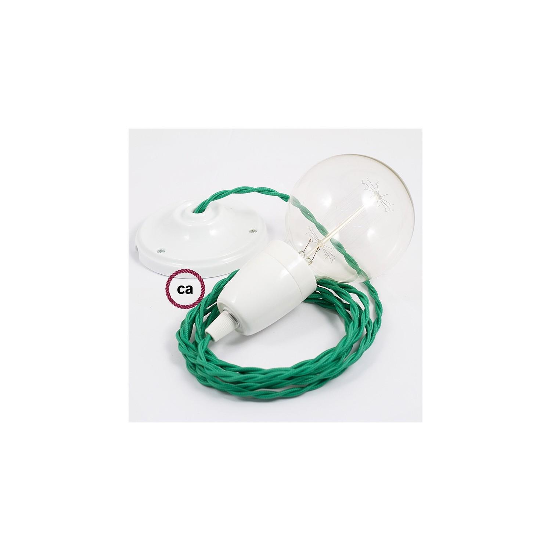 Pendel in porcellana, lampada sospensione cavo tessile Effetto Seta Verde TM06