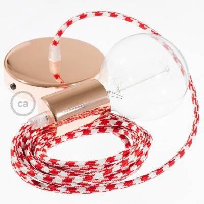 Pendel singolo, lampada sospensione cavo tessile Bicolore Rosso RP09