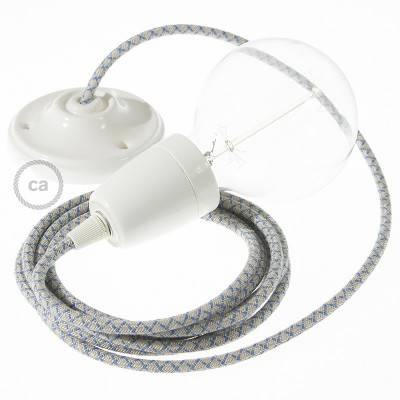 Pendel in porcellana, lampada sospensione cavo tessile Losanga Blu Steward RD65