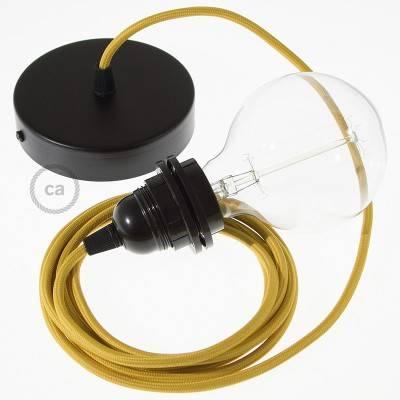 Pendel per paralume, lampada sopensione cavo tessile Effetto Seta Senape RM25