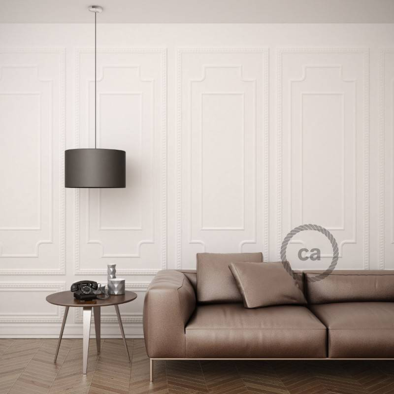 Pendel per paralume, lampada sospensione cavo tessile Effetto Seta Senape RM25