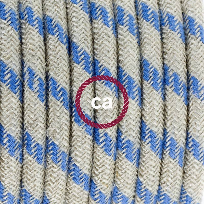 Pendel per paralume, lampada sospensione cavo tessile Stripes Blu Steward RD55