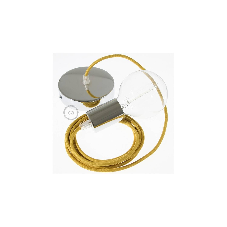Pendel singolo, lampada sospensione cavo tessile Effetto Seta Senape RM25