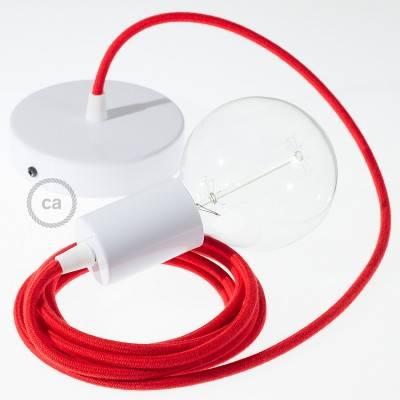 Pendel singolo, lampada sopensione cavo tessile Cotone Rosso Fuoco RC35