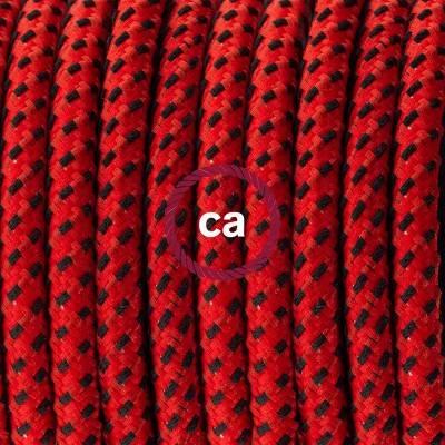 Pendel in porcellana, lampada sospensione cavo tessile 3D Red Devil RT94