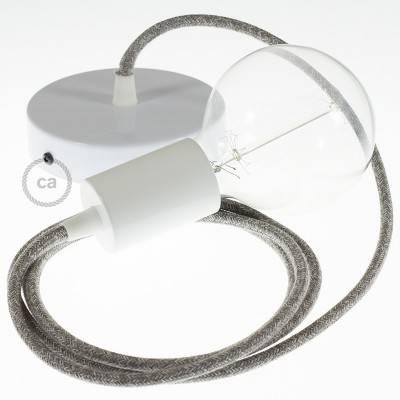 Pendel singolo, lampada sospensione cavo tessile Lino Naturale Grigio RN02