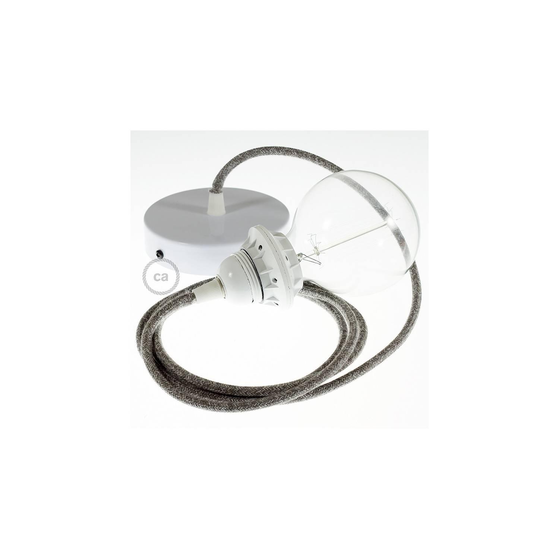 Pendel per paralume, lampada sopensione cavo tessile Lino Naturale Grigio RN02