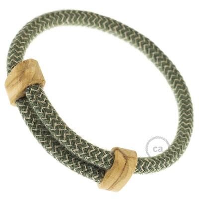 Creative-Bracelet in Cotone e Lino naturale Verde Timo RD72. Chiusura scorrevole in legno. Made in Italy.