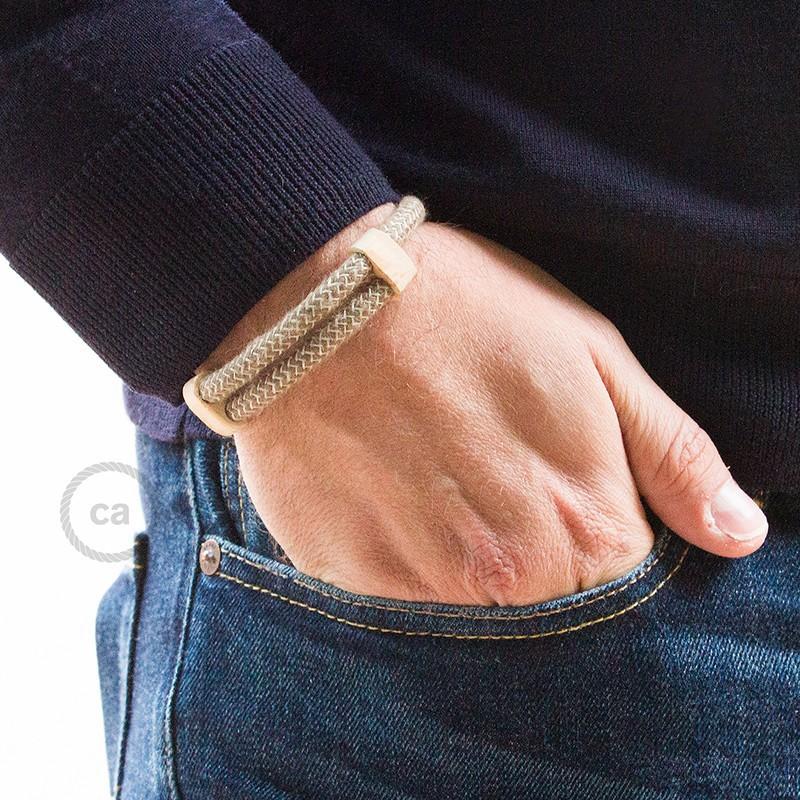 Creative-Bracelet in Cotone e Lino naturale Corteccia RD73. Chiusura scorrevole in legno. Made in Italy.