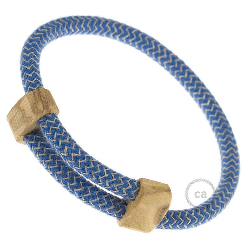 Creative-Bracelet in Cotone e Lino naturale Blu Steward RD75. Chiusura scorrevole in legno. Made in Italy.