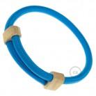 Creative-Bracelet in tessuto Effetto Seta Turchese RM11. Chiusura scorrevole in legno. Made in Italy.