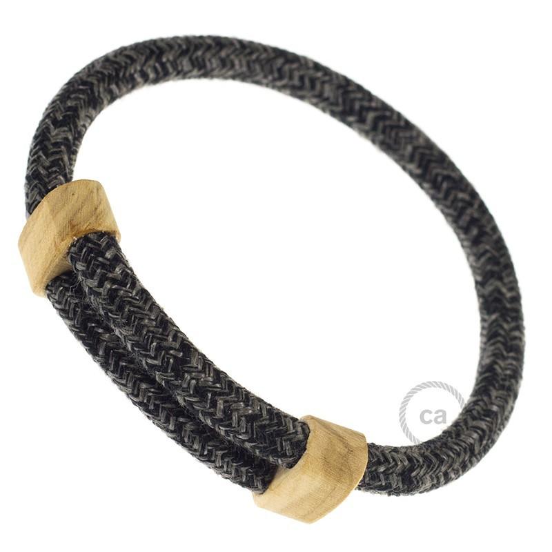 Creative-Bracelet in Lino Naturale Antracite RN03. Chiusura scorrevole in legno. Made in Italy.