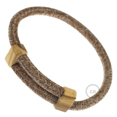 Creative-Bracelet in Cotone e Lino naturale Tweed Ruggine RS82. Chiusura scorrevole in legno. Made in Italy.