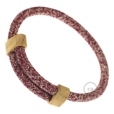 Creative-Bracelet in Cotone e Lino naturale Tweed Burgundy RS83. Chiusura scorrevole in legno. Made in Italy.
