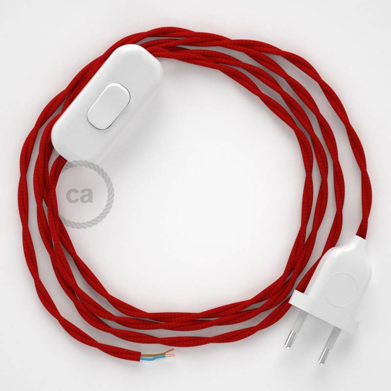 Cablaggio per lampada, cavo TM09 Effetto Seta Rosso 1,80 m. Scegli il colore dell'interuttore e della spina.