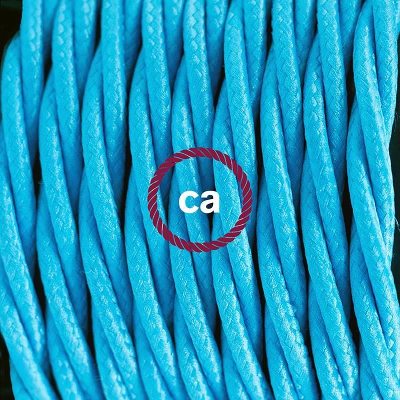 Cablaggio per lampada, cavo TM11 Effetto Seta Turchese 1,80 m. Scegli il colore dell'interuttore e della spina.