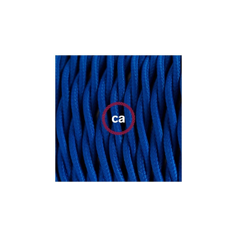 Cablaggio per lampada, cavo TM12 Effetto Seta Blu 1,80 m. Scegli il colore dell'interuttore e della spina.
