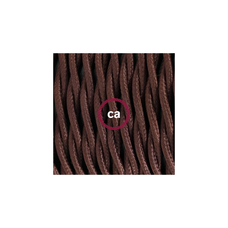 Cablaggio per lampada, cavo TM13 Effetto Seta Marrone 1,80 m. Scegli il colore dell'interuttore e della spina.