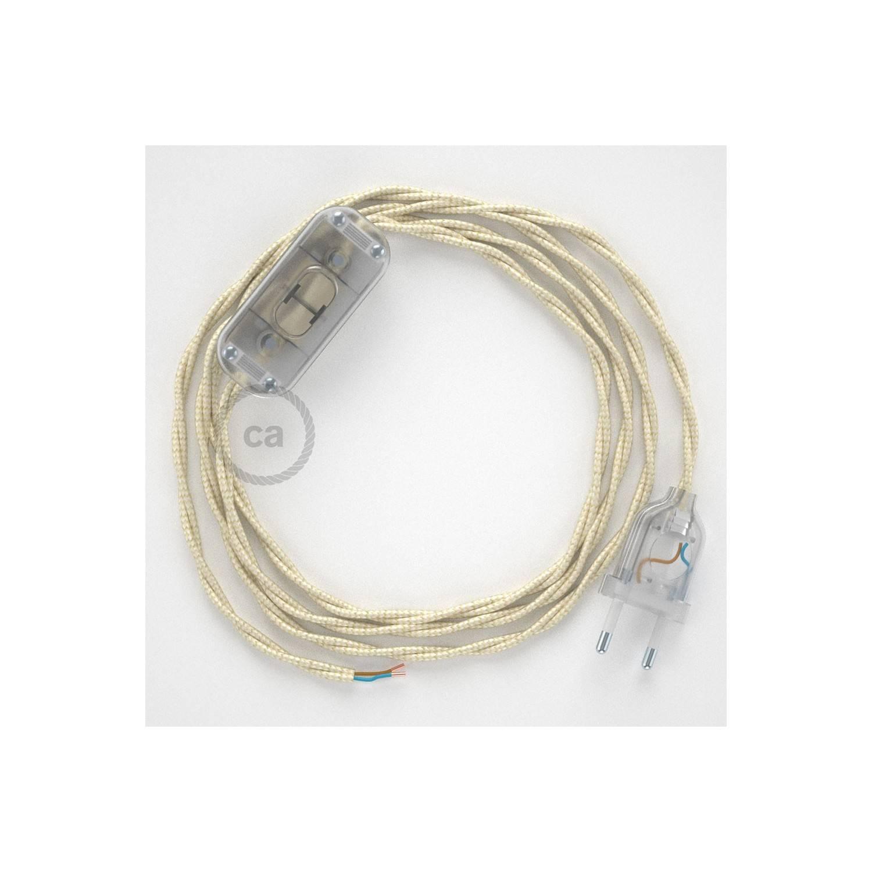 Cablaggio per lampada, cavo TM00 Effetto Seta Avorio 1,80 m. Scegli il colore dell'interuttore e della spina.