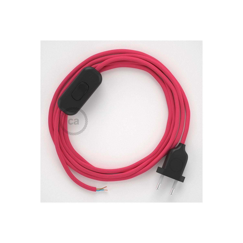 Cablaggio per lampada, cavo RM08 Effetto Seta Fucsia 1,80 m. Scegli il colore dell'interuttore e della spina.