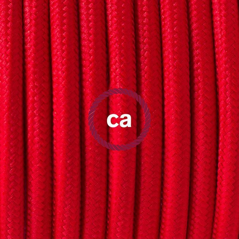 Cablaggio per lampada, cavo RM09 Effetto Seta Rosso 1,80 m. Scegli il colore dell'interuttore e della spina.