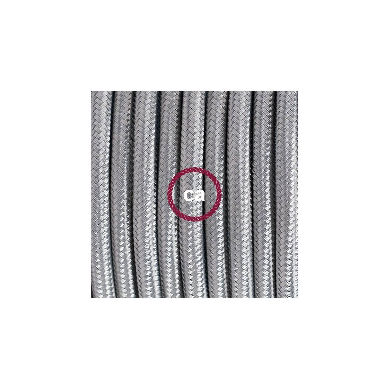 Cablaggio per lampada, cavo RM02 Effetto Seta Argento 1,80 m. Scegli il colore dell'interuttore e della spina.
