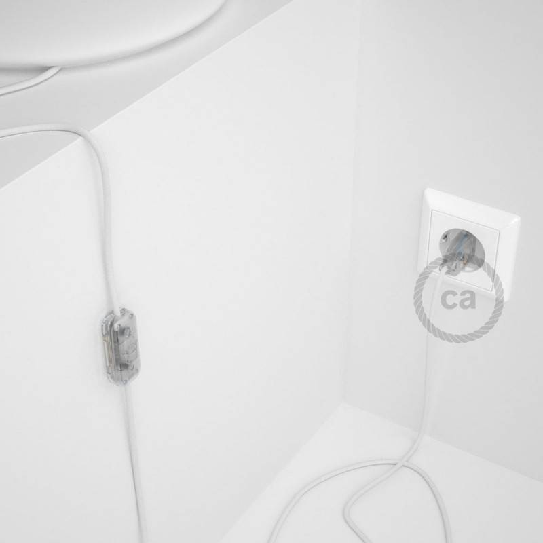Cablaggio per lampada, cavo RM01 Effetto Seta Bianco 1,80 m. Scegli il colore dell'interuttore e della spina.