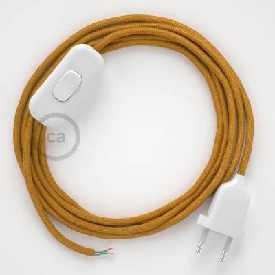 Cablaggio per lampada, cavo RM05 Effetto Seta Oro 1,80 m. Scegli il colore dell'interuttore e della spina.