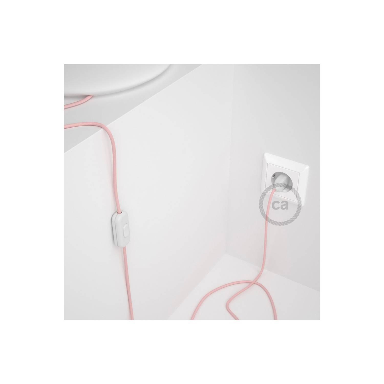 Cablaggio per lampada, cavo RM16 Effetto Seta Rosa Baby 1,80 m. Scegli il colore dell'interuttore e della spina.