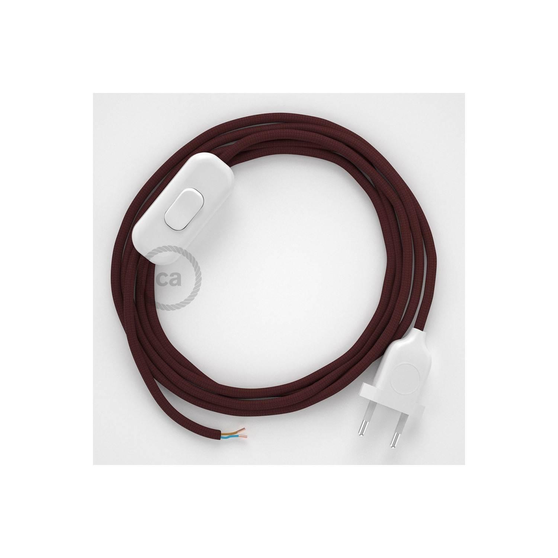 Cablaggio per lampada, cavo RM19 Effetto Seta Bordeaux 1,80 m. Scegli il colore dell'interuttore e della spina.