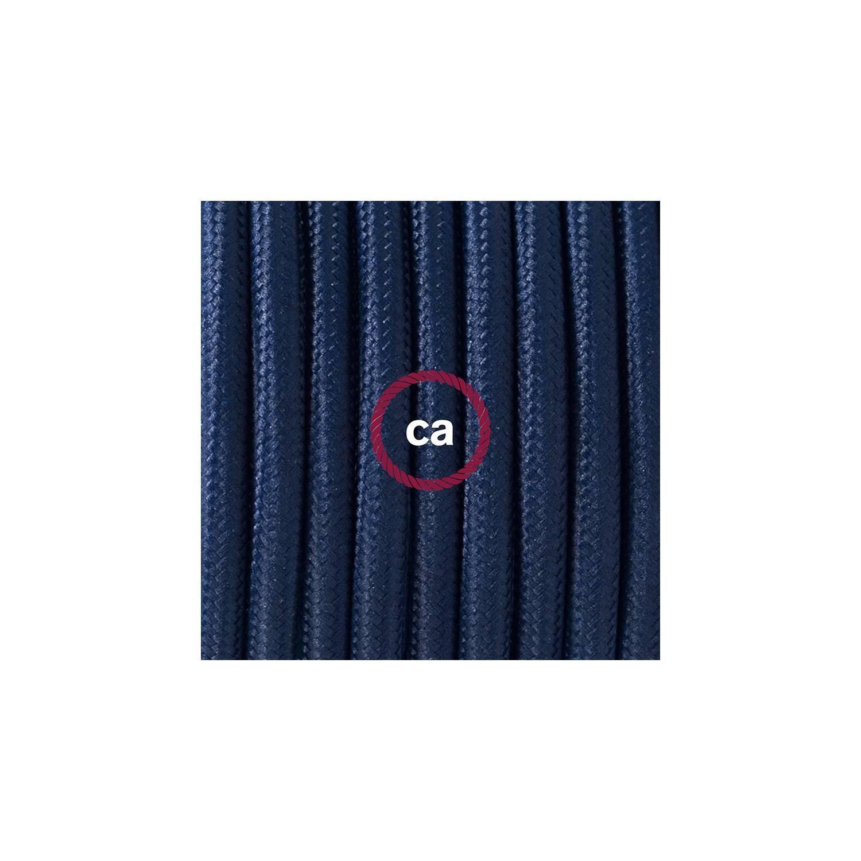 Cablaggio per lampada, cavo RM20 Effetto Seta Blu scuro 1,80 m. Scegli il colore dell'interuttore e della spina.
