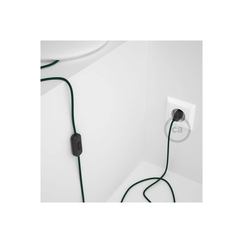Cablaggio per lampada, cavo RM21 Effetto Seta Verde Scuro 1,80 m. Scegli il colore dell'interuttore e della spina.