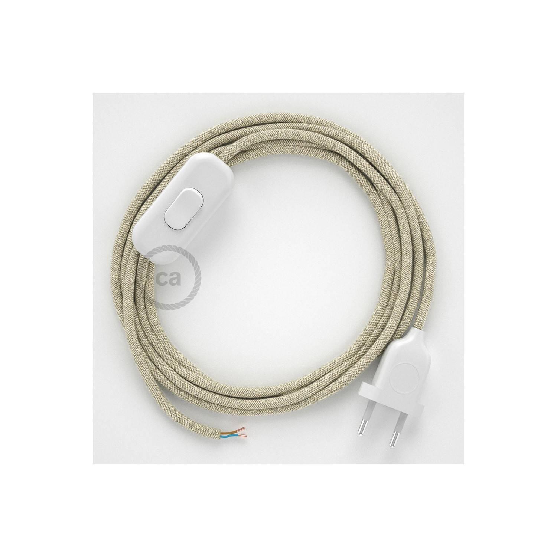 Cablaggio per lampada, cavo RN01 Lino Naturale Neutro 1,80 m. Scegli il colore dell'interuttore e della spina.