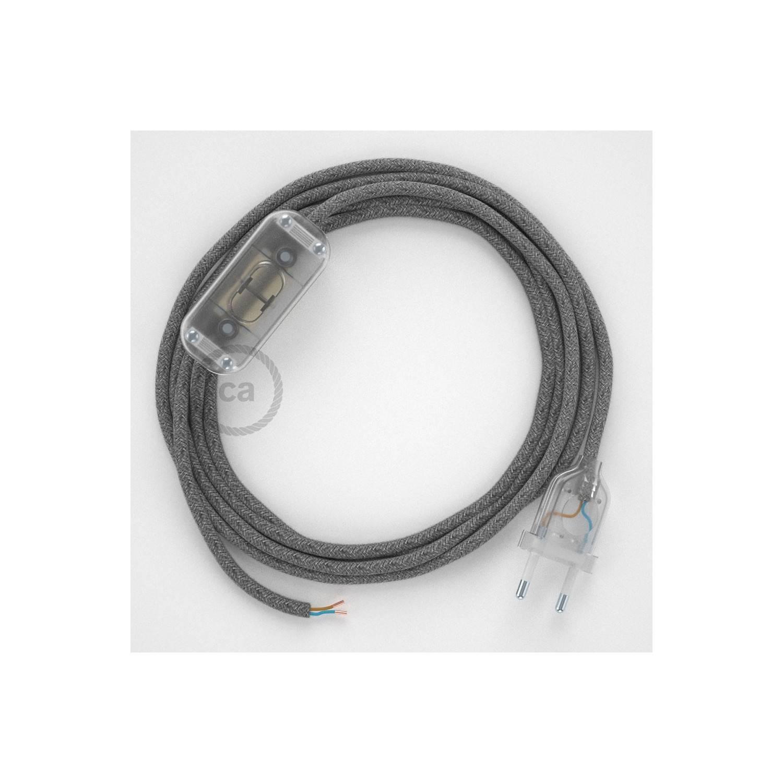 Cablaggio per lampada, cavo RN02 Lino Naturale Grigio 1,80 m. Scegli il colore dell'interuttore e della spina.