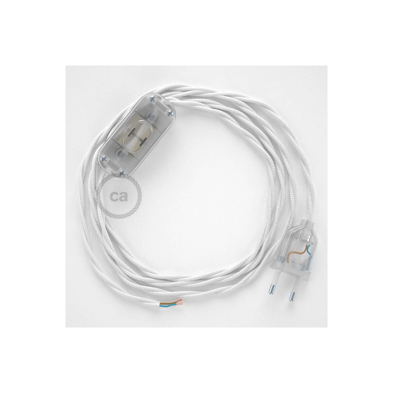 Cablaggio per lampada, cavo TM01 Effetto Seta Bianco 1,80 m. Scegli il colore dell'interuttore e della spina.