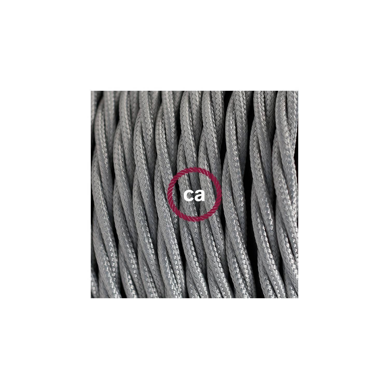 Cablaggio per lampada, cavo TM02 Effetto Seta Argento 1,80 m. Scegli il colore dell'interuttore e della spina.