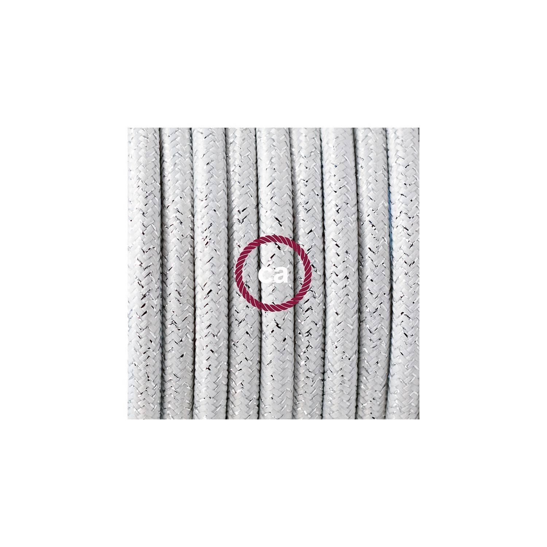 Cablaggio per lampada, cavo RL01 Effetto Seta Glitterato Bianco 1,80 m. Scegli il colore dell'interuttore e della spina.