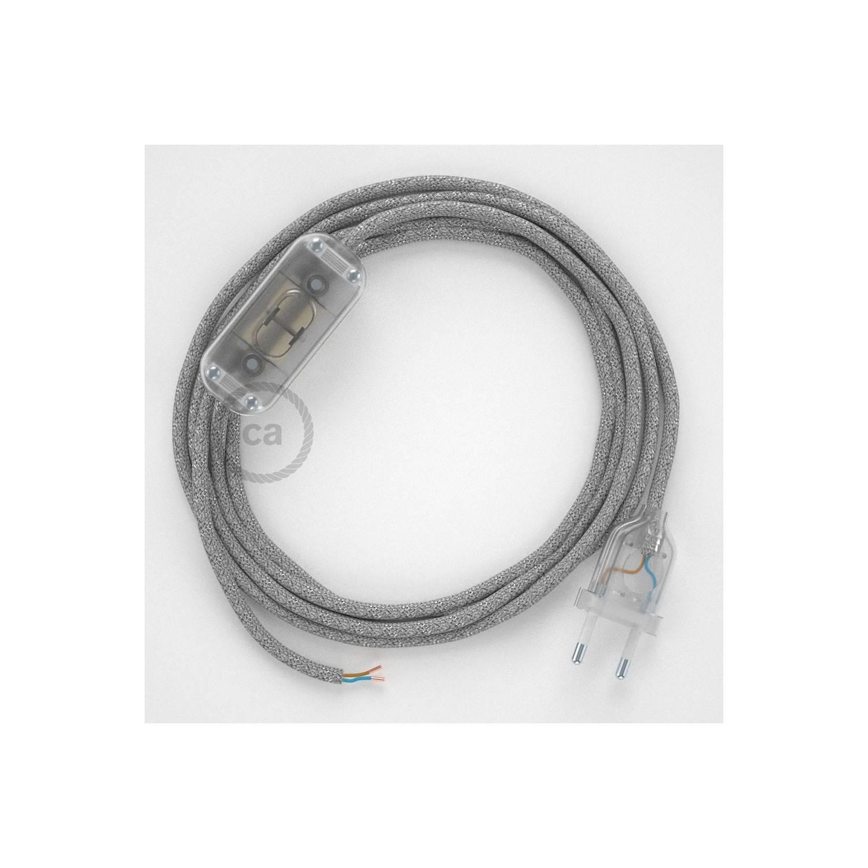 Cablaggio per lampada, cavo RL02 Effetto Seta Glitterato Argento 1,80 m. Scegli il colore dell'interuttore e della spina.