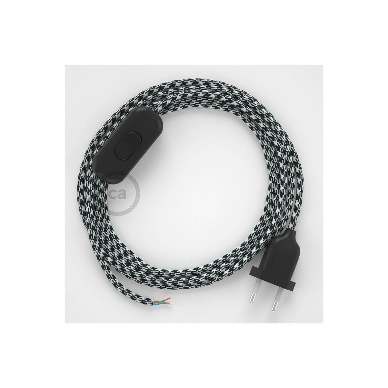 Cablaggio per lampada, cavo RP04 Effetto Seta Bicolore Nero 1,80 m. Scegli il colore dell'interuttore e della spina.