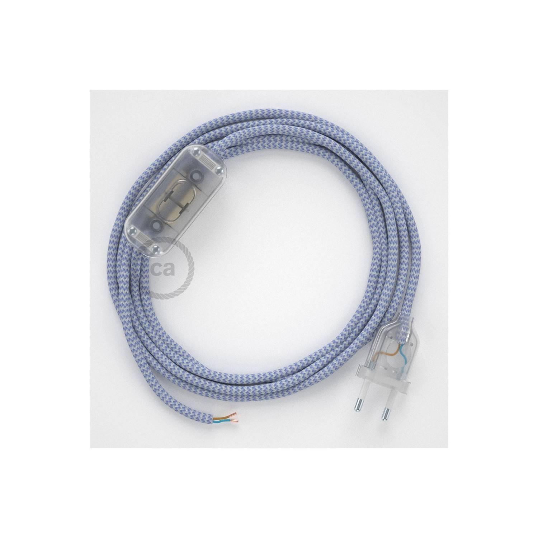 Cablaggio per lampada, cavo RZ07 Effetto Seta ZigZag Lilla 1,80 m. Scegli il colore dell'interuttore e della spina.