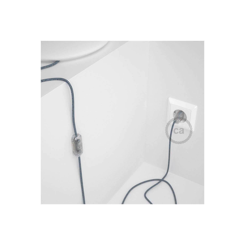 Cablaggio per lampada, cavo RZ12 Effetto Seta ZigZag Blu 1,80 m. Scegli il colore dell'interuttore e della spina.