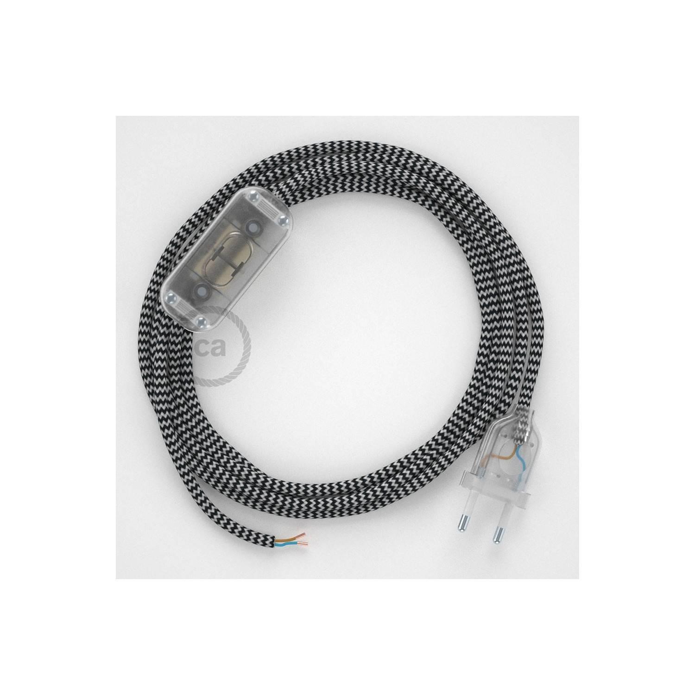 Cablaggio per lampada, cavo RZ04 Effetto Seta ZigZag Nero 1,80 m. Scegli il colore dell'interuttore e della spina.