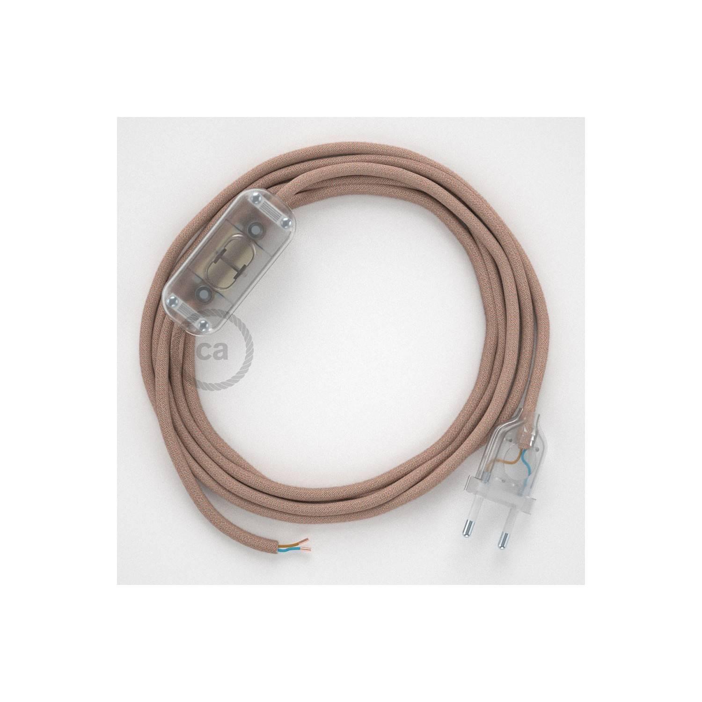 Cablaggio per lampada, cavo RD71 ZigZag Rosa Antico 1,80 m. Scegli il colore dell'interuttore e della spina.