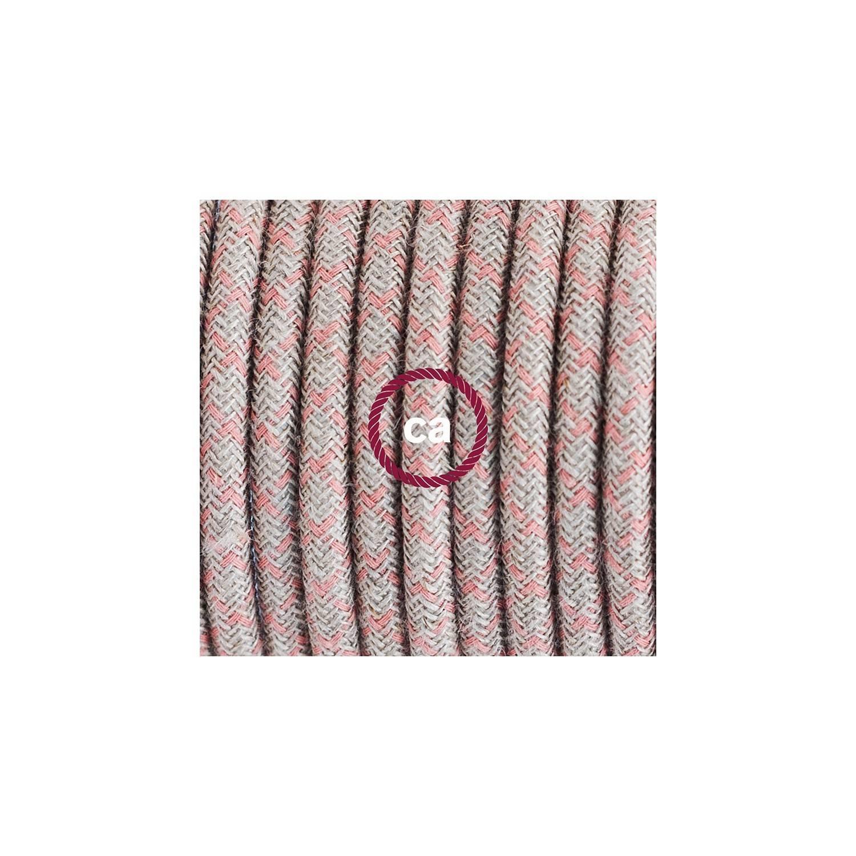 Cablaggio per lampada, cavo RD61 Losanga Rosa Antico 1,80 m. Scegli il colore dell'interuttore e della spina.