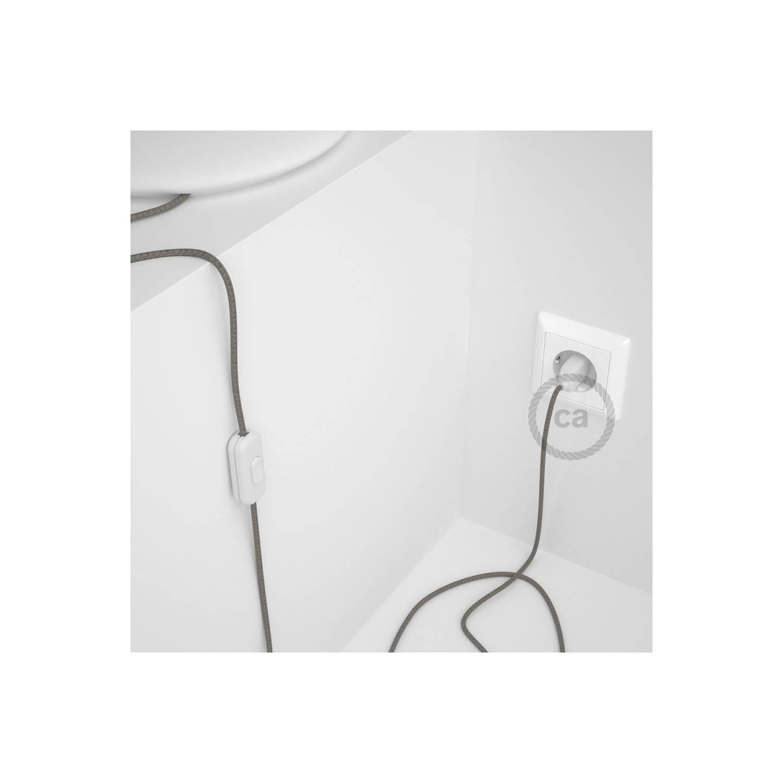 Cablaggio per lampada, cavo RD62 Losanga Verde Timo 1,80 m. Scegli il colore dell'interuttore e della spina.