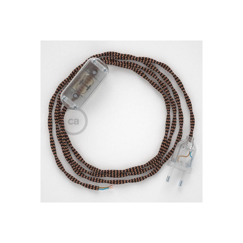 Cablaggio per lampada, cavo TZ22 Effetto Seta Nero e Whiskey 1,80 m. Scegli il colore dell'interuttore e della spina.