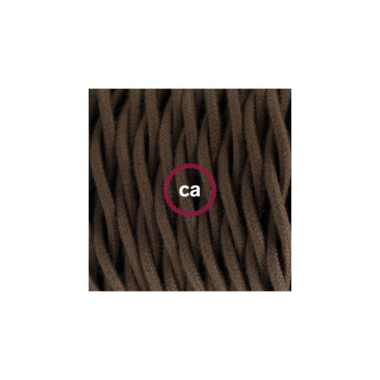 Cablaggio per lampada, cavo TC13 Cotone Marrone 1,80 m. Scegli il colore dell'interuttore e della spina.
