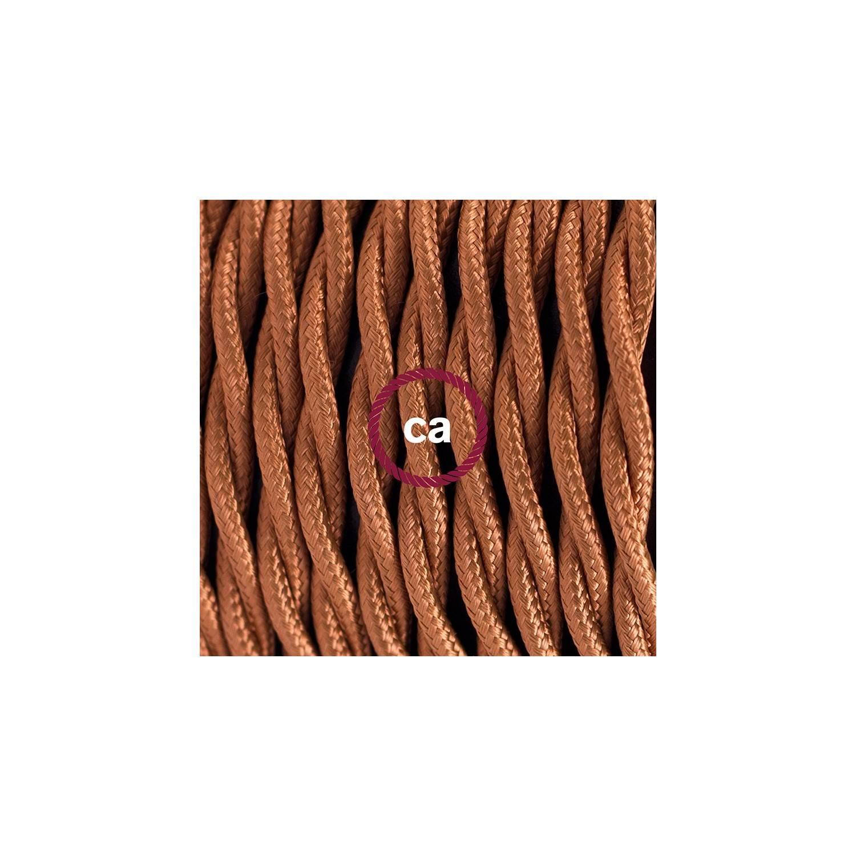 Cablaggio per lampada, cavo TM22 Effetto Seta Whiskey 1,80 m. Scegli il colore dell'interuttore e della spina.