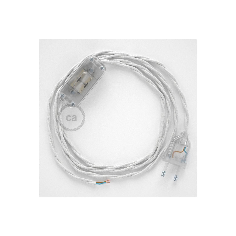 Cablaggio per lampada, cavo TC01 Cotone Bianco 1,80 m. Scegli il colore dell'interuttore e della spina.